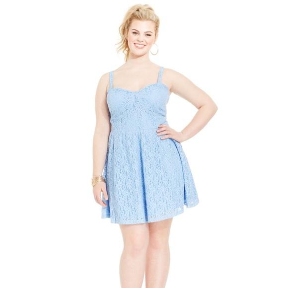 Jessica Simpson Dresses | Jessic Simpson Plus Size Blue Lace Bustier ...